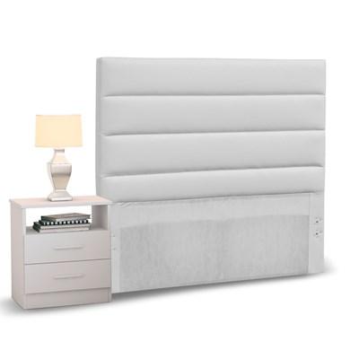 Cabeceira Cama Box Solteiro 90cm Greta Corano Branco e 1 Mesa de Cabeceira Flex DM1 Branco - Mpozenato