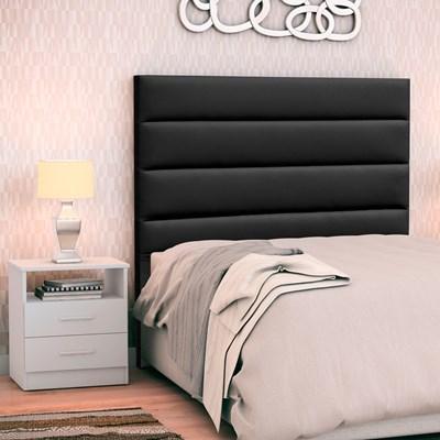Cabeceira Cama Box Solteiro 90cm Greta Corano Preto e 1 Mesa de Cabeceira Flex DM1 Branco - Mpozenato