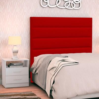 Cabeceira Cama Box Solteiro 90cm Greta Corano Vermelho e 1 Mesa de Cabeceira Flex DM1 Branco - Mpozenato