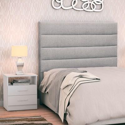 Cabeceira Cama Box Solteiro 90cm Greta Linho Cinza e 1 Mesa de Cabeceira Flex DM1 Branco - Mpozenato