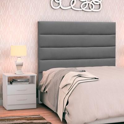 Cabeceira Cama Box Solteiro 90cm Greta Suede Cinza e 1 Mesa de Cabeceira Flex DM1 Branco - Mpozenato
