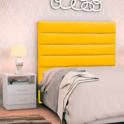 Cabeceira Cama Box Solteiro 90cm Greta Suede Ouro e 1 Mesa de Cabeceira Branco - Mpozenato