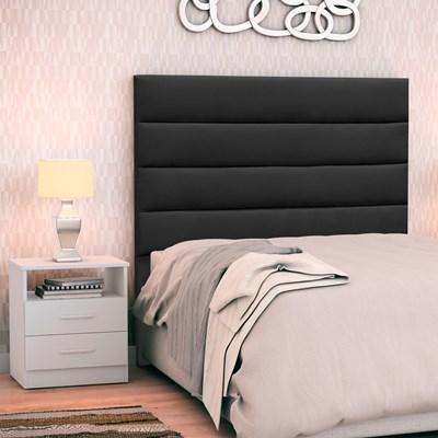 Cabeceira Cama Box Solteiro 90cm Greta Suede Preto e 1 Mesa de Cabeceira Flex DM1 Branco - Mpozenato