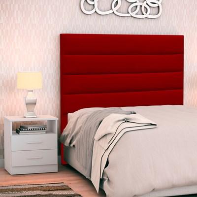 Cabeceira Cama Box Solteiro 90cm Greta Suede Vermelho e 1 Mesa de Cabeceira AD1 Branco - Mpozenato