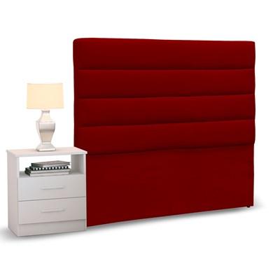 Cabeceira Cama Box Solteiro 90cm Greta Suede Vermelho e 1 Mesa de Cabeceira Branco - Mpozenato