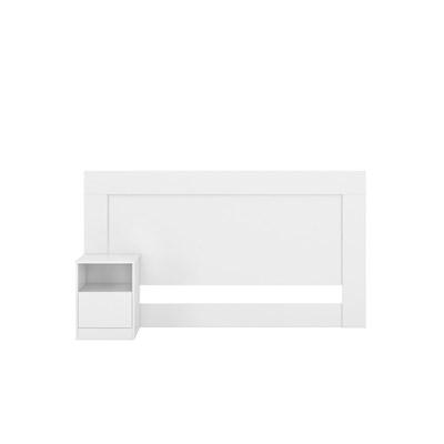 Cabeceira Casal Cama Box 138 cm 1 Mesa de Cabeceira London Branco - Demóbile