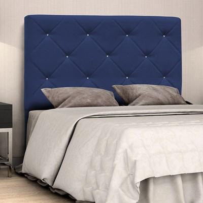 Cabeceira Casal Oásis 140cm Suede Liso Azul Marinho - D'Monegatto