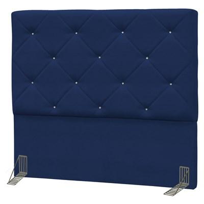 Cabeceira Casal Queen Oásis 160cm Suede Liso Azul Marinho - D'Monegatto