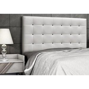Cabeceira Casal Queen Sonhare 160 cm Corino Branco com Botões Preto - D'Monegatto