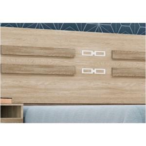 Cabeceira com 02 Mesas de Cabeceira Acopladas para Box de 140 e 160 cm Triunfo Nogal/Vanilla - Demóbile