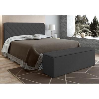 Cabeceira com Calçadeira Baú Paris para Colchão Box 140 cm Cinza Suede Amassado - JS Móveis