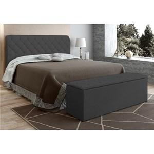 Cabeceira com Calçadeira Baú Paris para Colchão Box de 160 cm Cinza Suede Amassado - JS Móveis