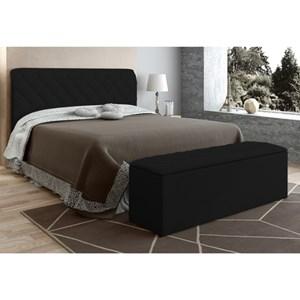Cabeceira com Calçadeira Baú Paris para Colchão Box de 160 cm Preto Suede Amassado - JS Móveis