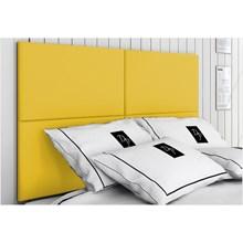 Cabeceira Painel 4 Placas Para Cama Box Casal King 200 cm Suede Animale Amarelo - TES Decor