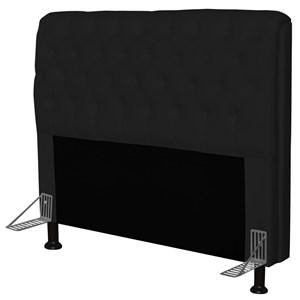Cabeceira Paris Para Cama Box Casal 140 cm Paris Corino Preto- JS Móveis