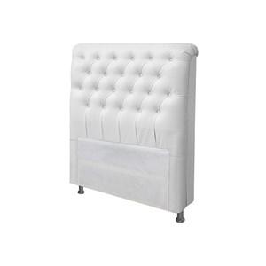 Cabeceira Solteiro Livia para Cama Box de 90 cm Corino Branco - Js Móveis