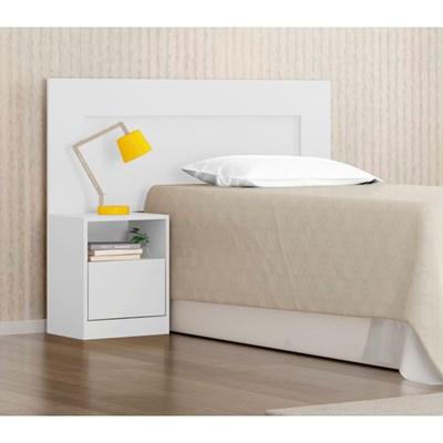 Cabeceira Solteiro para Box 88 cm com 01 Mesa de Cabeceira London Branco/Rosa - Demóbile