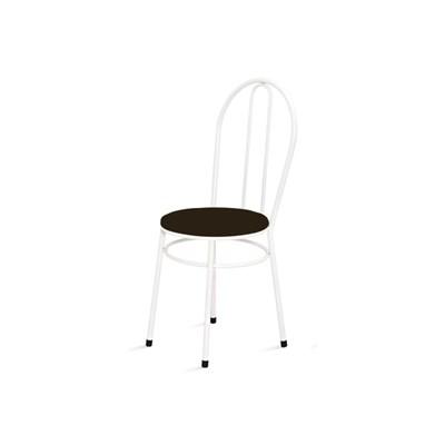 Cadeira Baixa 0.134 Redonda Branco/Marrom Escuro - Marcheli