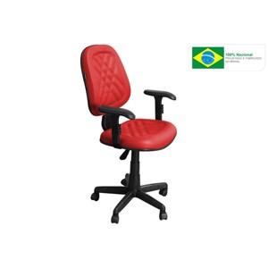 Cadeira de Escritório CE-02GPBT Executiva Giratória com Costura Vermelha - Pethiflex