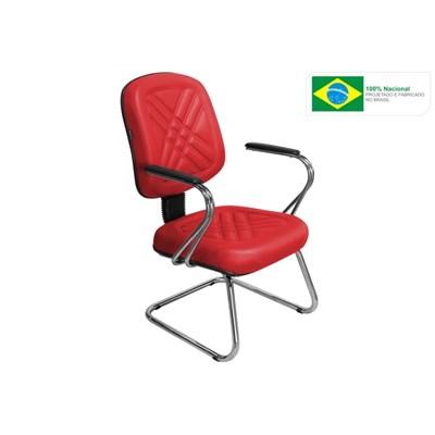 Cadeira de Escritório Cromos PD03 Diretor Fixa Vermelha - Pethiflex