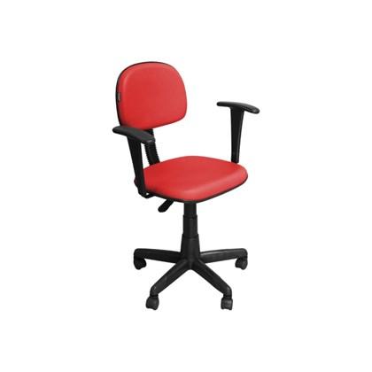 Cadeira de Escritório CS-02BT Secretária Giratória Braço Fixo Preta Vermelha - Pethiflex