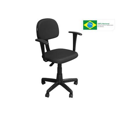 Cadeira de Escritório CS03 Secretária Giratória Braço Fixo Preta - Pethiflex
