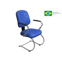 Cadeira de Escritório PD-05SCBC Diretor Fixa Base e Pés Cromados Azul - Pethiflex