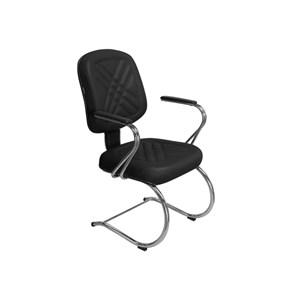 Cadeira de Escritório PD-05SCBC Diretor Fixa Base e Pés Cromados Preta - Pethiflex