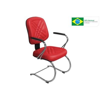 Cadeira de Escritório PD-05SCBC Diretor Fixa Base e Pés Cromados Vermelha - Pethiflex