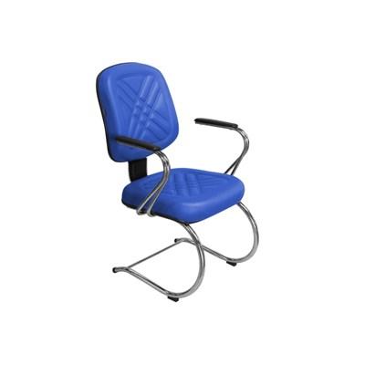 Cadeira de Escritório PD04 Diretor Fixa Base e Pés Cromados Azul - Pethiflex