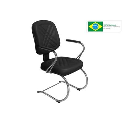 Cadeira de Escritório PD04 Diretor Fixa Base e Pés Cromados Preta - Pethiflex