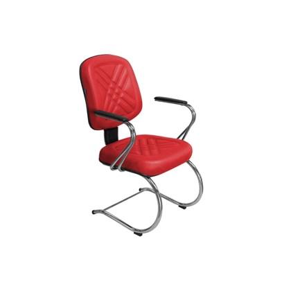 Cadeira de Escritório PD04 Diretor Fixa Base e Pés Cromados Vermelha - Pethiflex