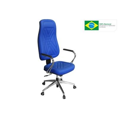 Cadeira de Escritório PP-01GCBC Presidente Giratória Cromada Azul - Pethiflex