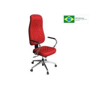 Cadeira de Escritório PP-01GCBC Presidente Giratória Cromada Vermelha - Pethiflex