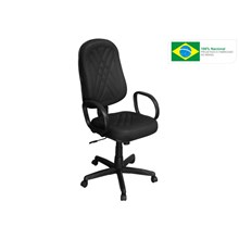 Cadeira de Escritório PP-02GPBP Presidente Giratória com Costura Preta - Pethiflex