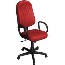 Cadeira de Escritório PP-02GPBP Presidente Giratória com Costura Vermelha - Pethiflex