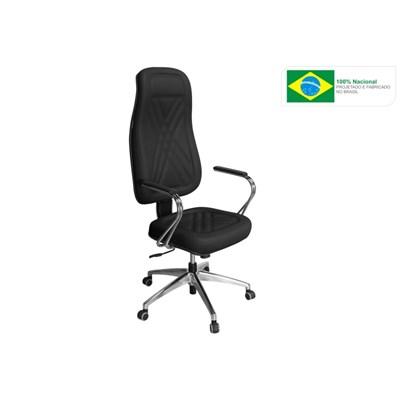 Cadeira de Escritório PP01 Presidente Giratória Cromada Preta - Pethiflex