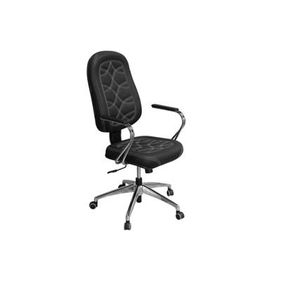 Cadeira de Escritório PP02 Presidente Giratória Cromada Preta - Pethiflex