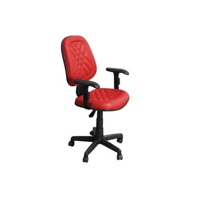 Cadeira de Escritório PS02 Executiva Giratória com Costura Vermelha - Pethiflex
