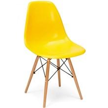 Cadeira Eiffel Charles Eames Amarela com Base de Madeira DSW