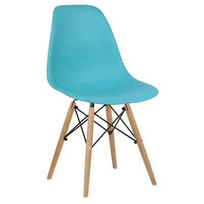 Cadeira Eiffel Charles Eames Azul Tiffany com Base de Madeira - Mpozenato