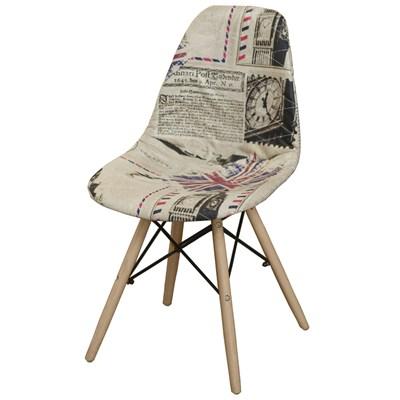 Cadeira Eiffel Charles Eames Estofada Londres Bege F01 Base Madeira - Mpozenato