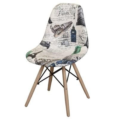 Cadeira Eiffel Charles Eames Estofada Paris Creme F01 Base Madeira - Mpozenato