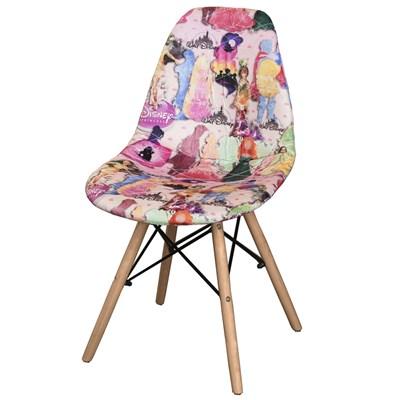 Cadeira Eiffel Charles Eames Estofada Princesas Rosa F01 Base Madeira - Mpozenato