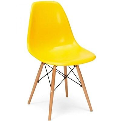 Cadeira Eiffel Charles Eames F01 Amarela com Base de Madeira DSW - Mpozenato