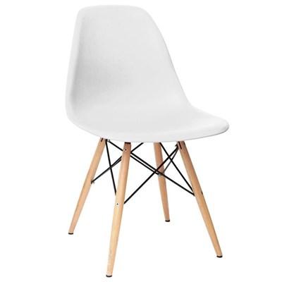 Cadeira Eiffel Charles Eames F01 Branca com Base de Madeira DSW - Mpozenato