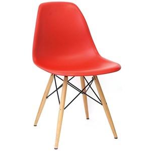 Cadeira Eiffel Charles Eames Vermelho com Base de Madeira DSW