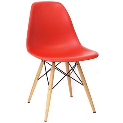 Cadeira Eiffel Charles Eames Vermelho com Base de Madeira - Mpozenato