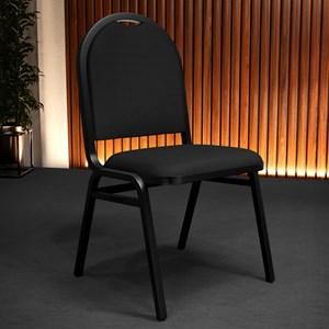 Cadeira Hoteleira Auditório Hotel Empilhável Fixa Preta - Pethiflex