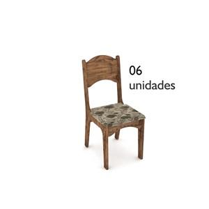 Cadeira para Sala de Jantar CA18 100% MDF 06 Peças Nobre com Chenille Floral - Dalla Costa